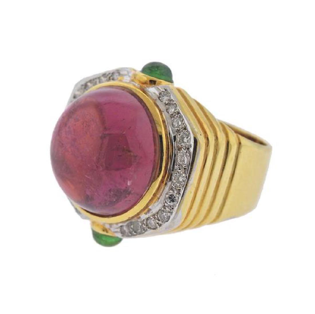 14K Gold Diamond Tourmaline Peridot Dome Ring - 2