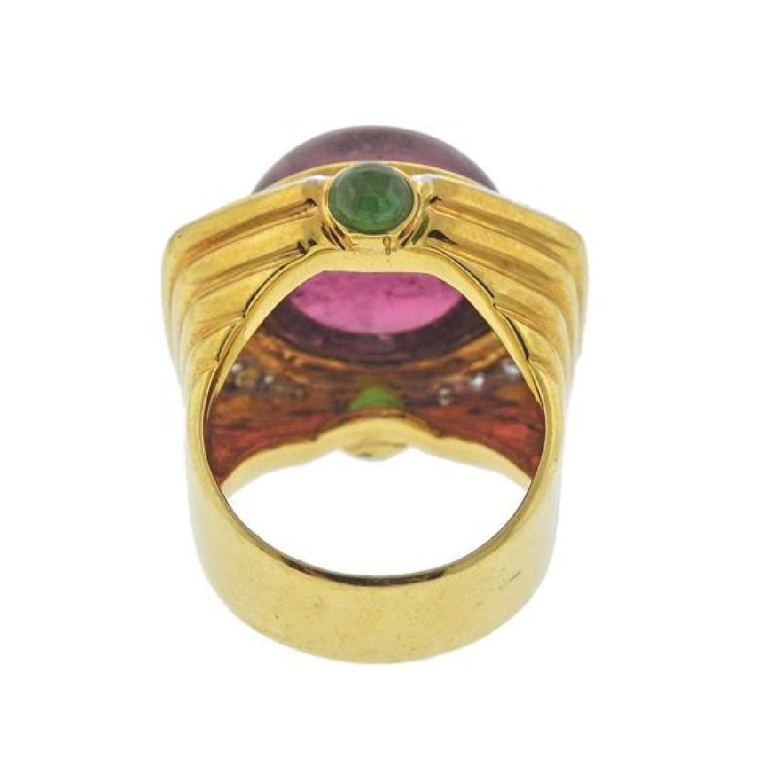 14K Gold Diamond Tourmaline Peridot Dome Ring - 3