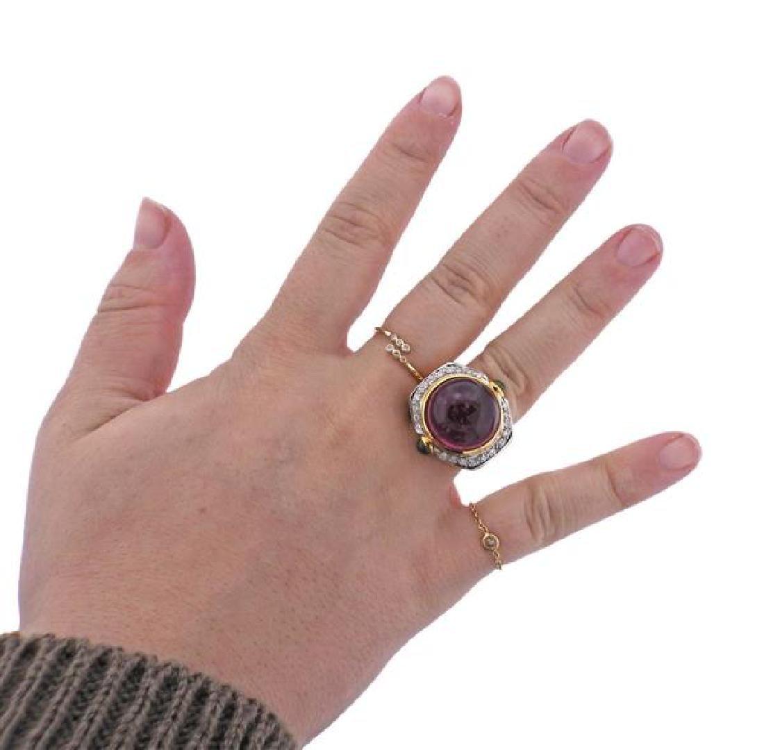 14K Gold Diamond Tourmaline Peridot Dome Ring - 4