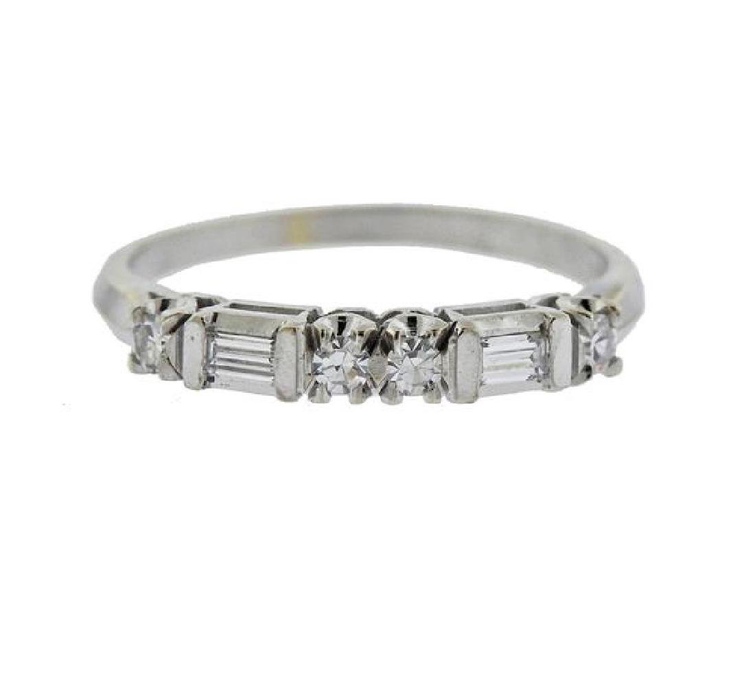14K Gold Diamond Half Band Ring