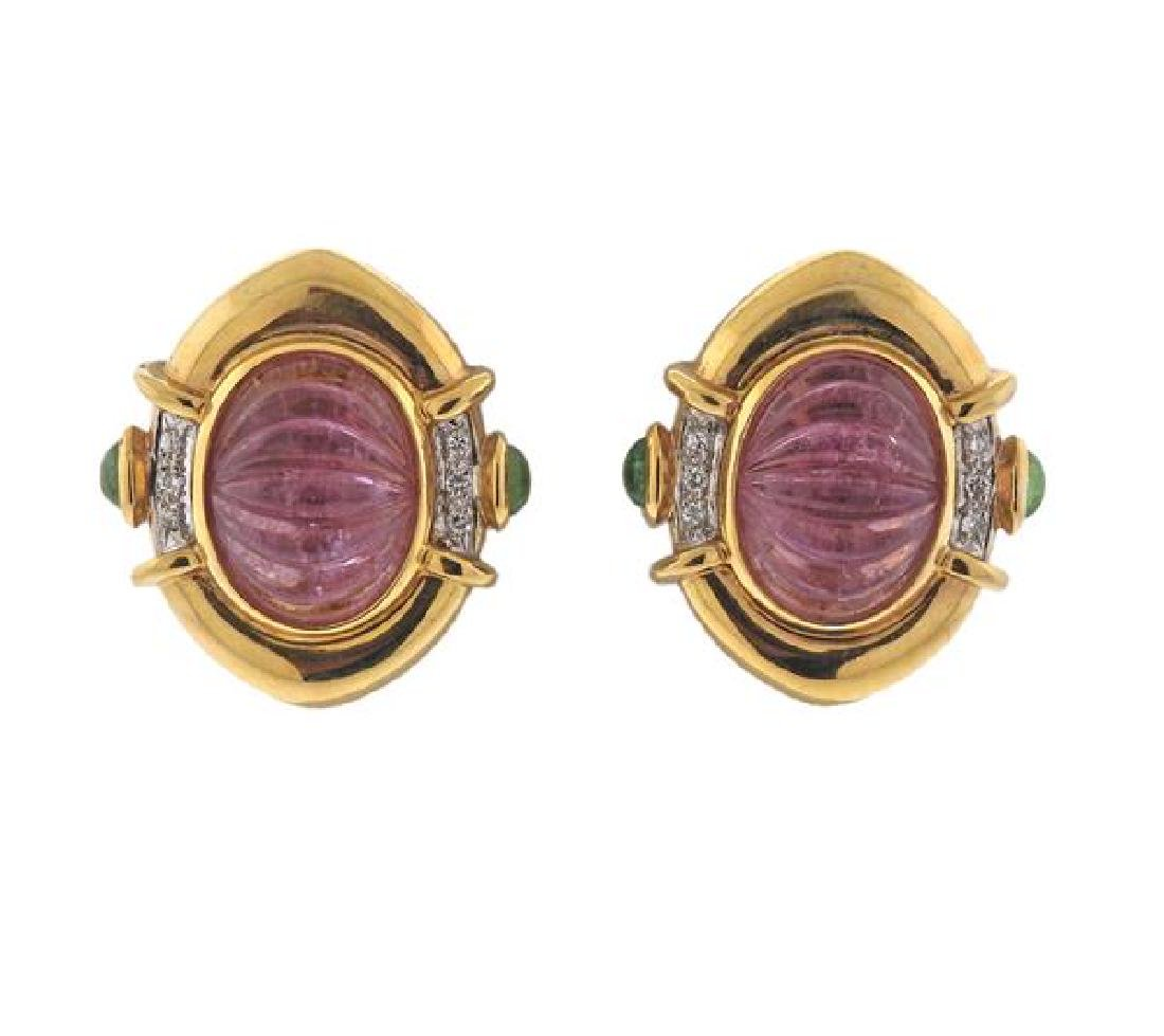 18K Gold Diamond Tourmaline Stone Earrings