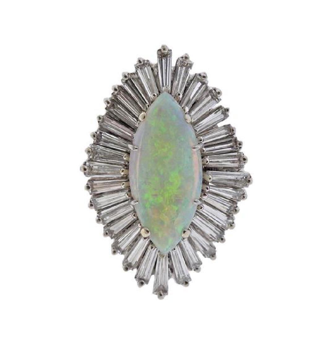 14K Gold Diamond Opal Cocktail Ring