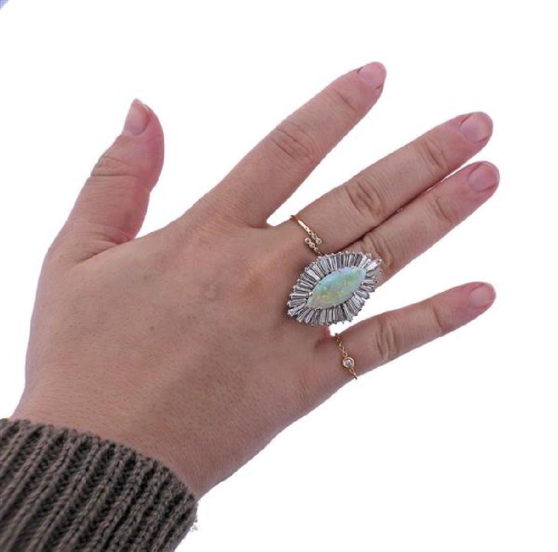 14K Gold Diamond Opal Cocktail Ring - 4