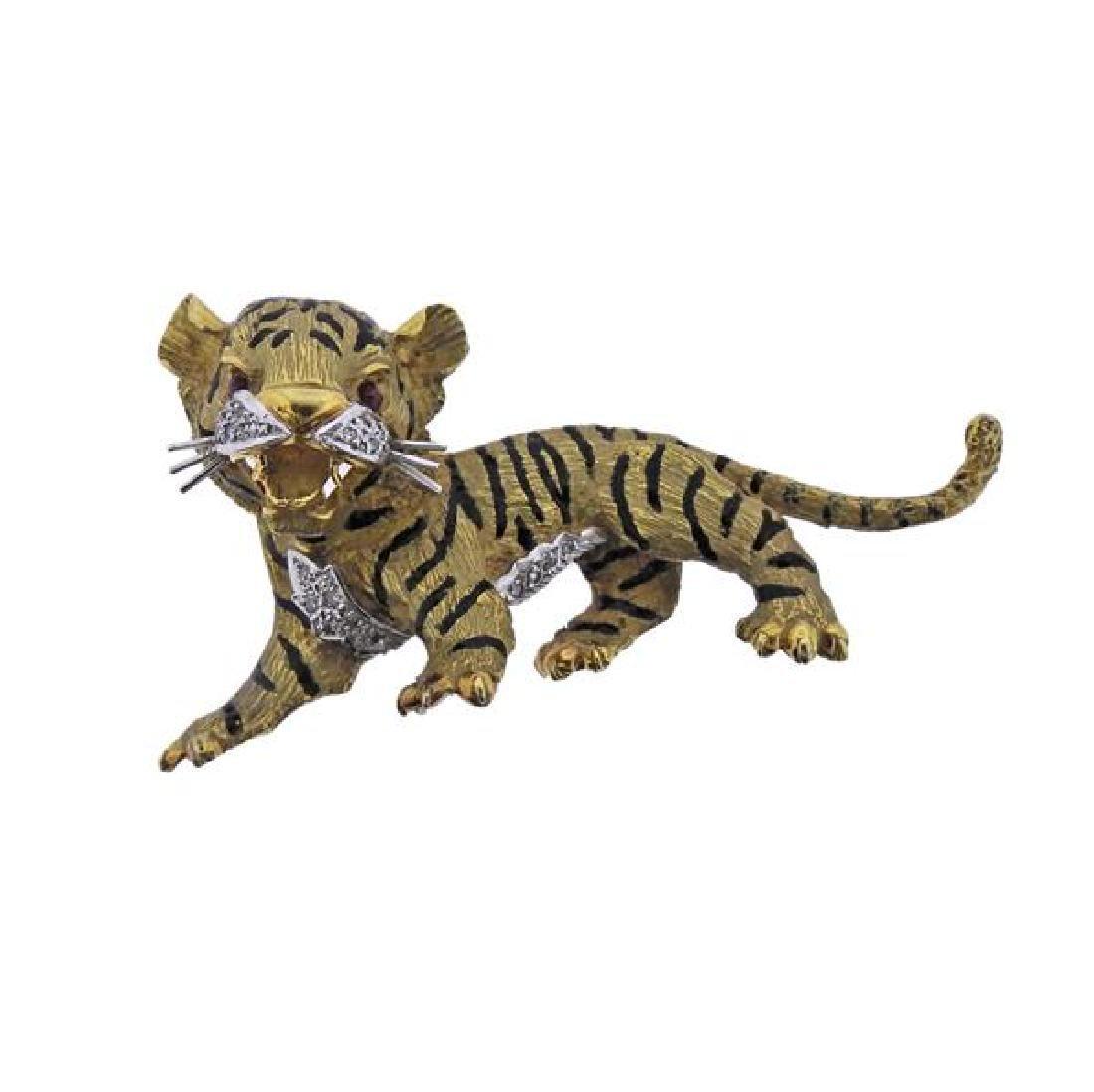 18K Gold Diamond Ruby Enamel Tiger Cub Brooch