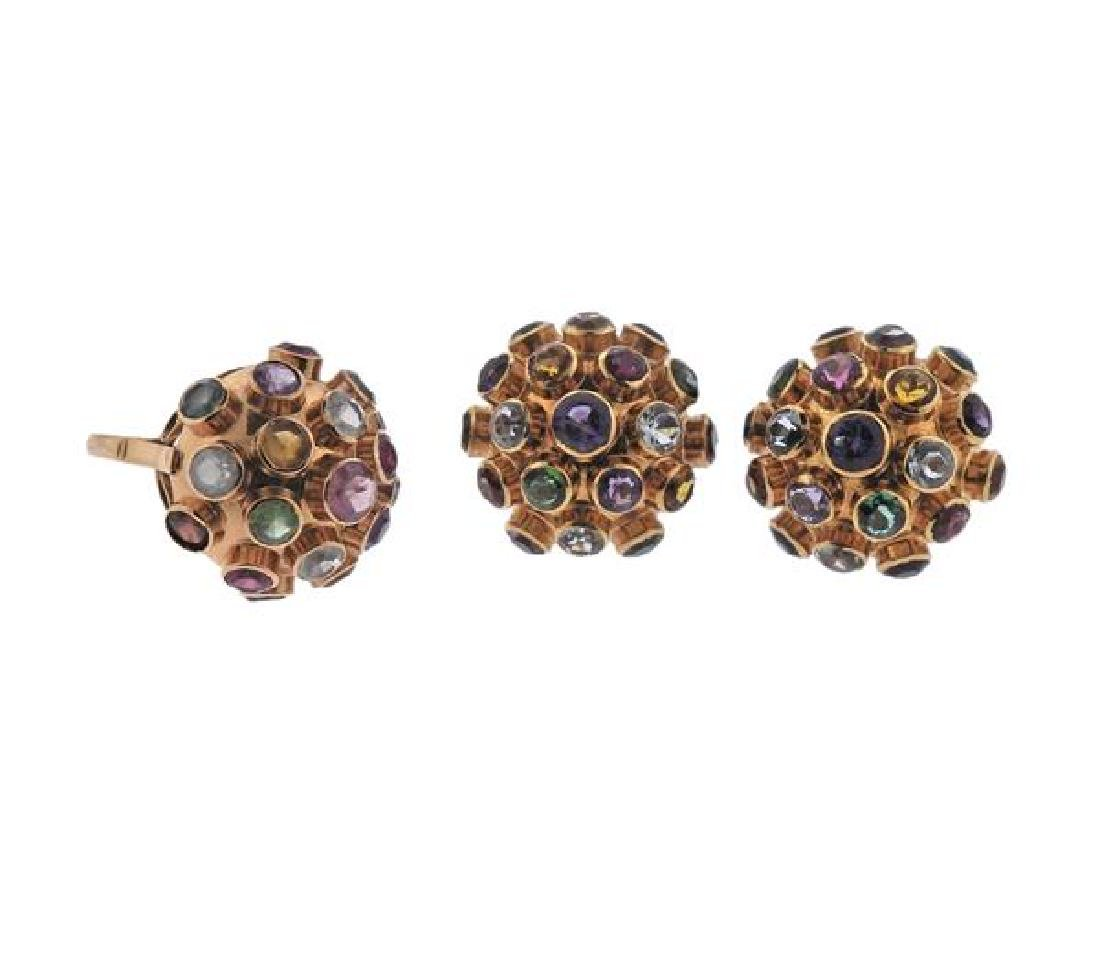 18K Gold Multi  Gemstone Sputnik Earrings Ring Set