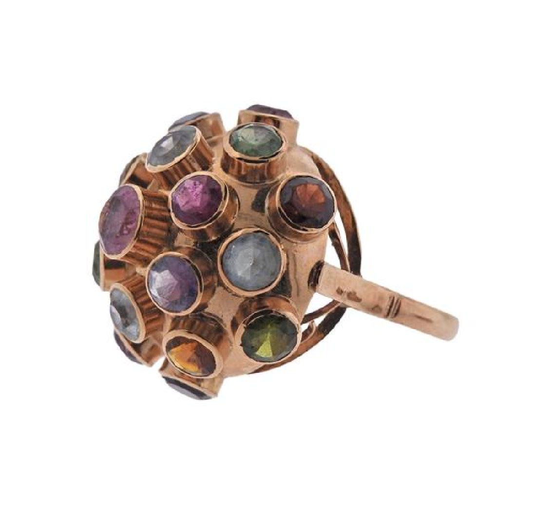 18K Gold Multi  Gemstone Sputnik Earrings Ring Set - 5