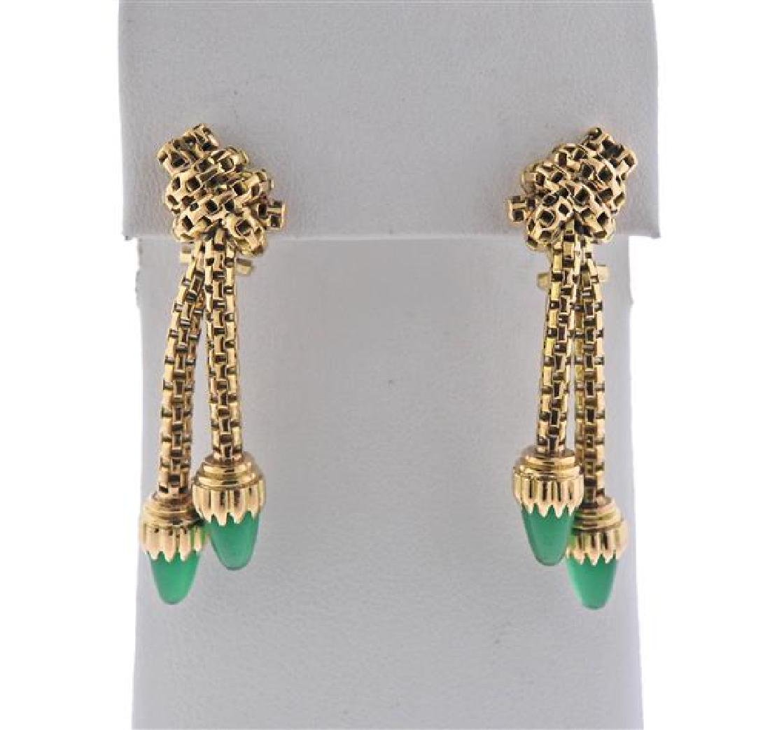 18K Gold Green Agate Dangle Earrings
