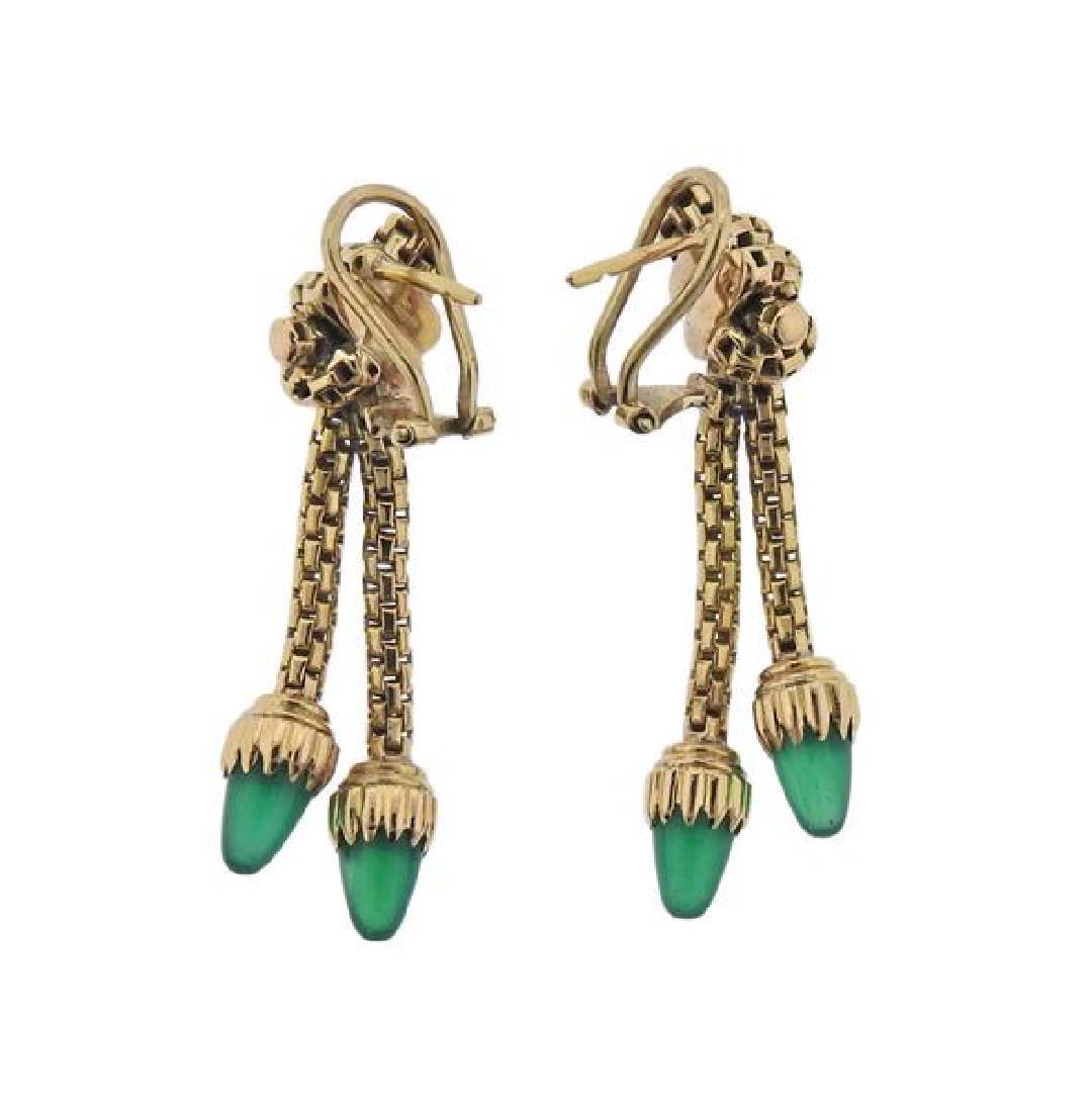 18K Gold Green Agate Dangle Earrings - 2