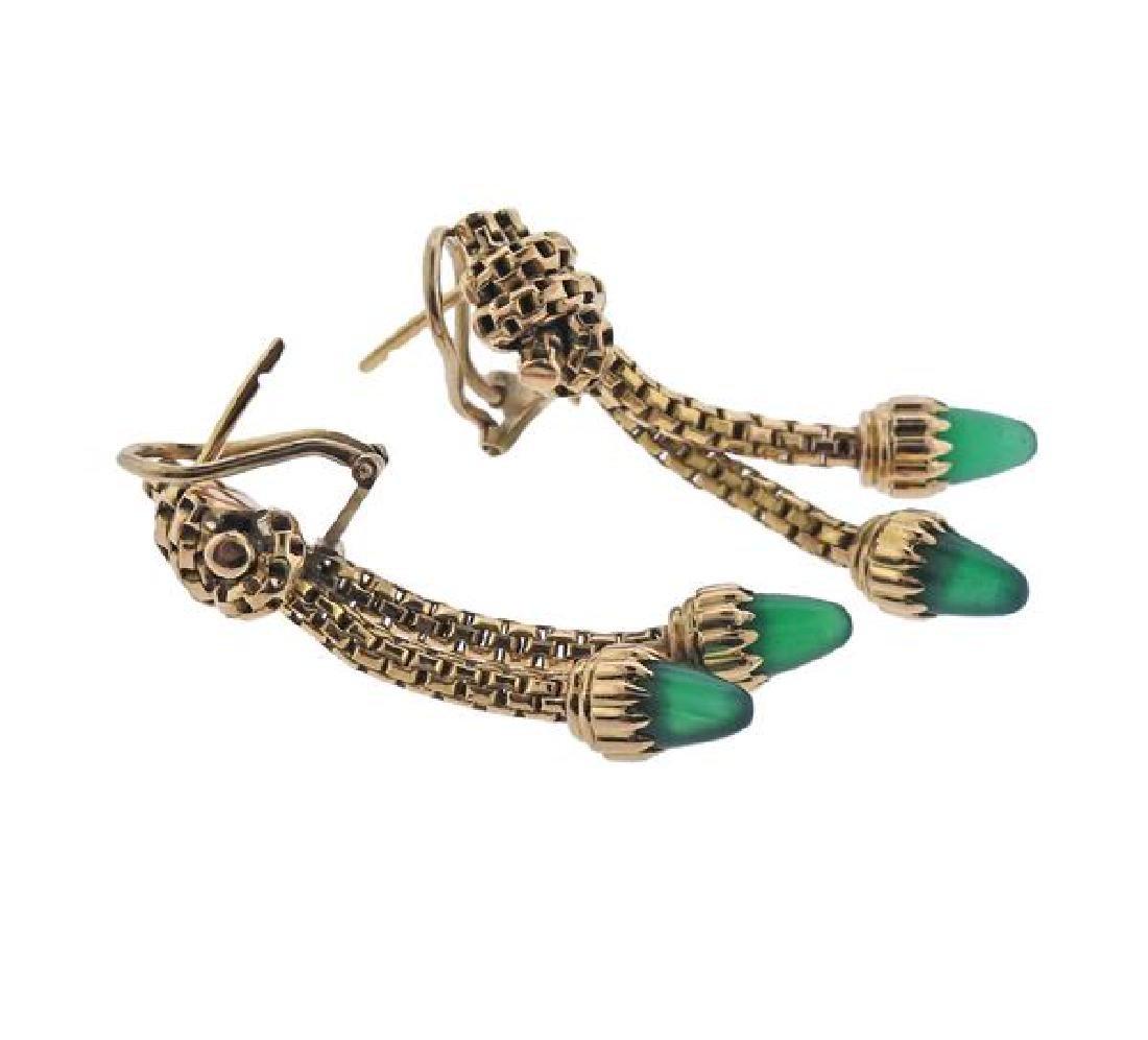 18K Gold Green Agate Dangle Earrings - 3