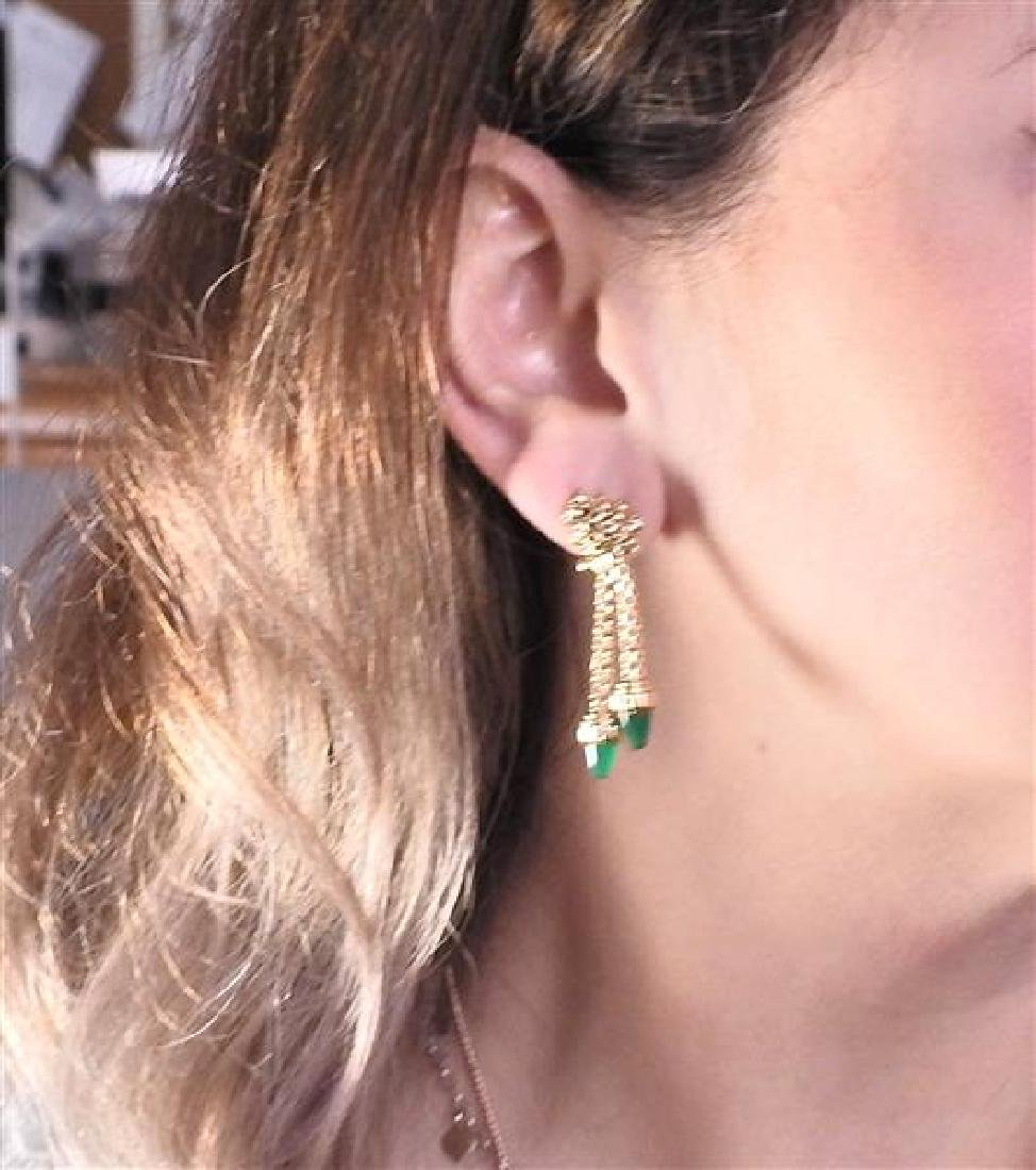 18K Gold Green Agate Dangle Earrings - 4