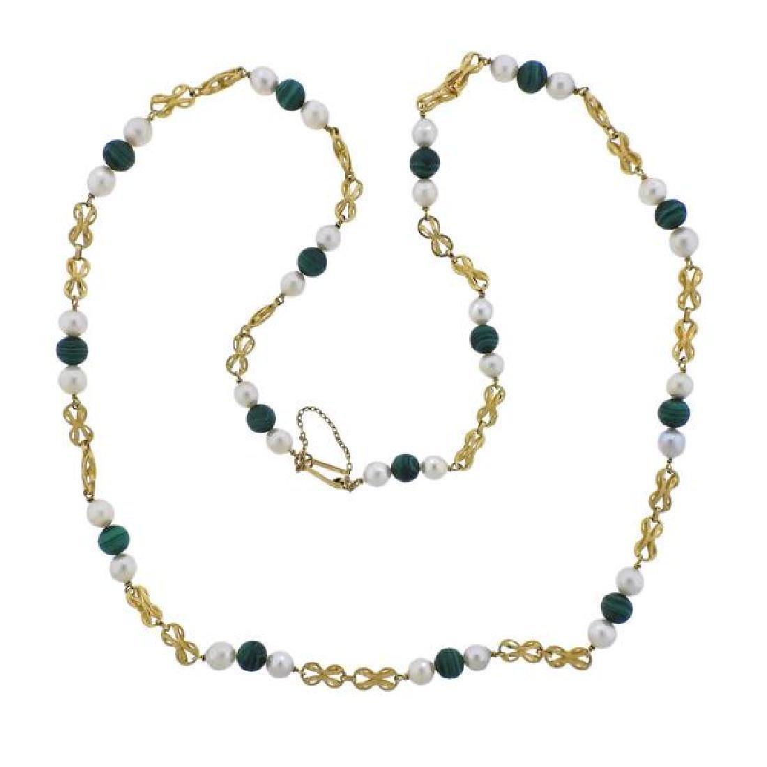 18K Malachite Pearl Station Necklace