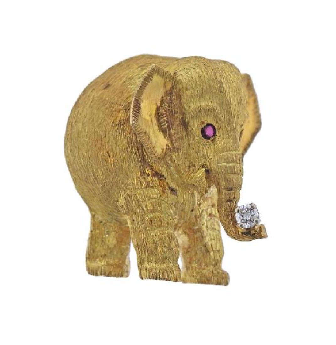 Black Starr & Frost 18k Gold Diamond Elephant