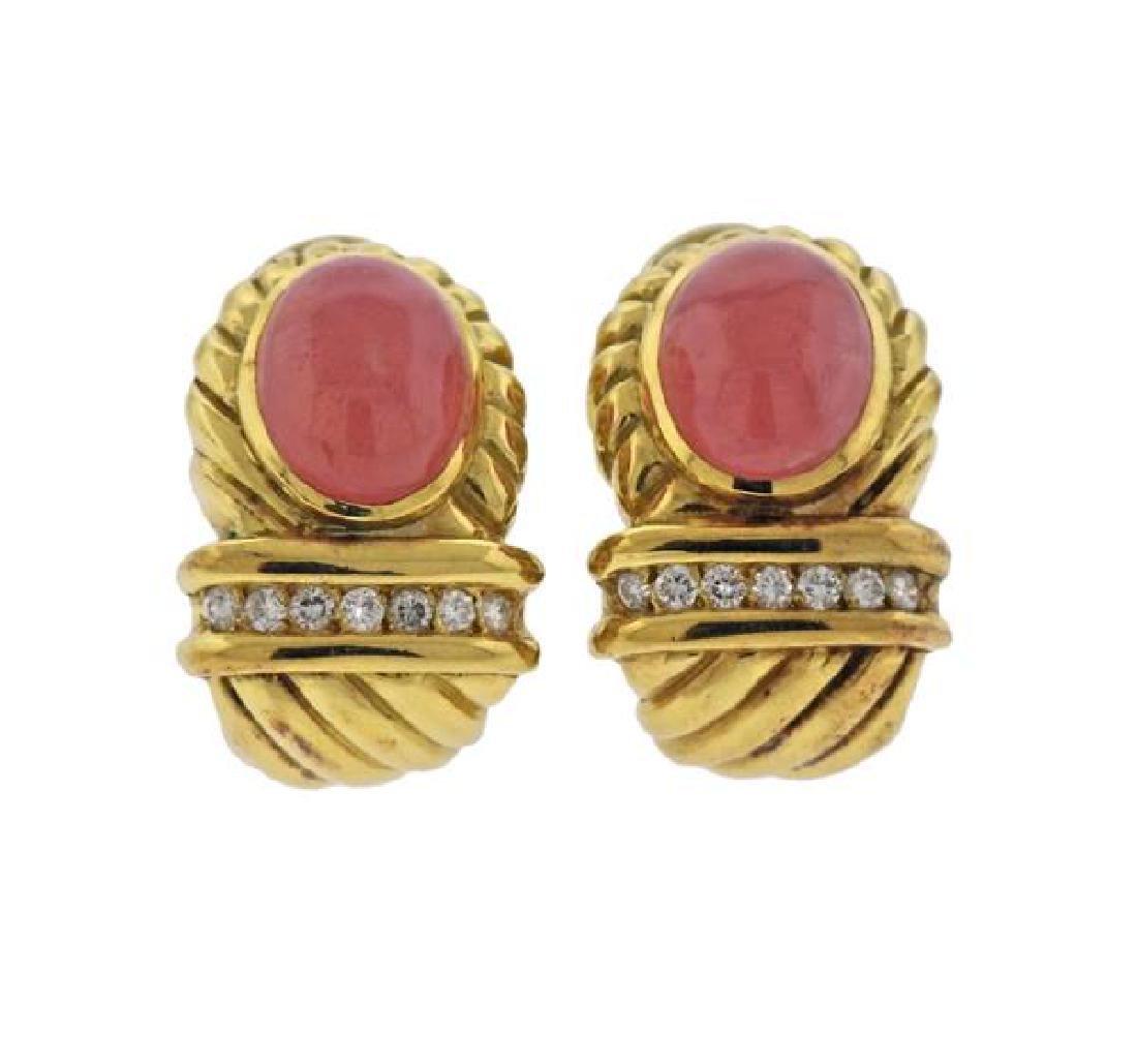 18K Gold Diamond Pink Gemstone Earrings
