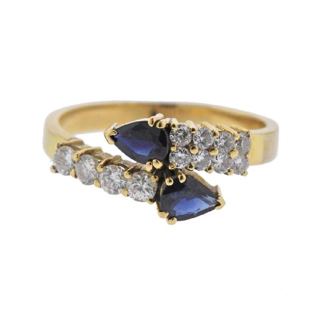 18K Gold Diamond Sapphire Bypass Ring