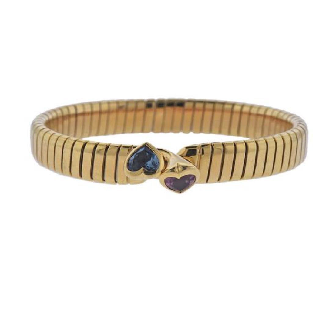 Bvlgari Bulgari Tubogas 18K Gold Gemstone Heart