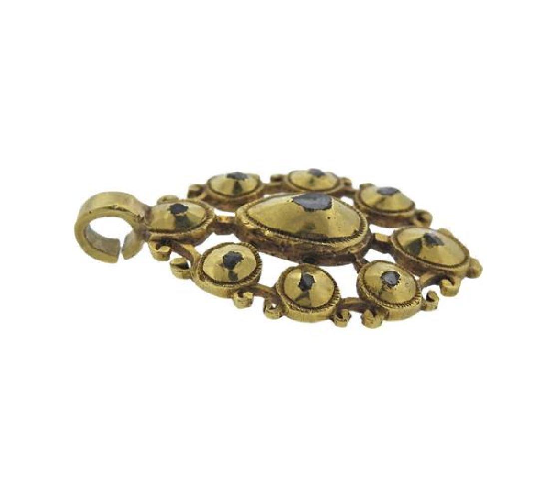 Antique 18K Gold Diamond Pendant - 2