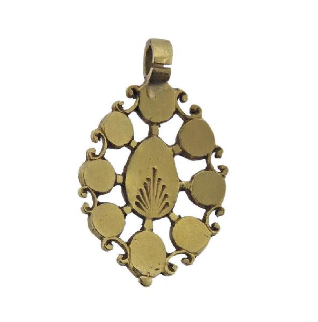 Antique 18K Gold Diamond Pendant - 3