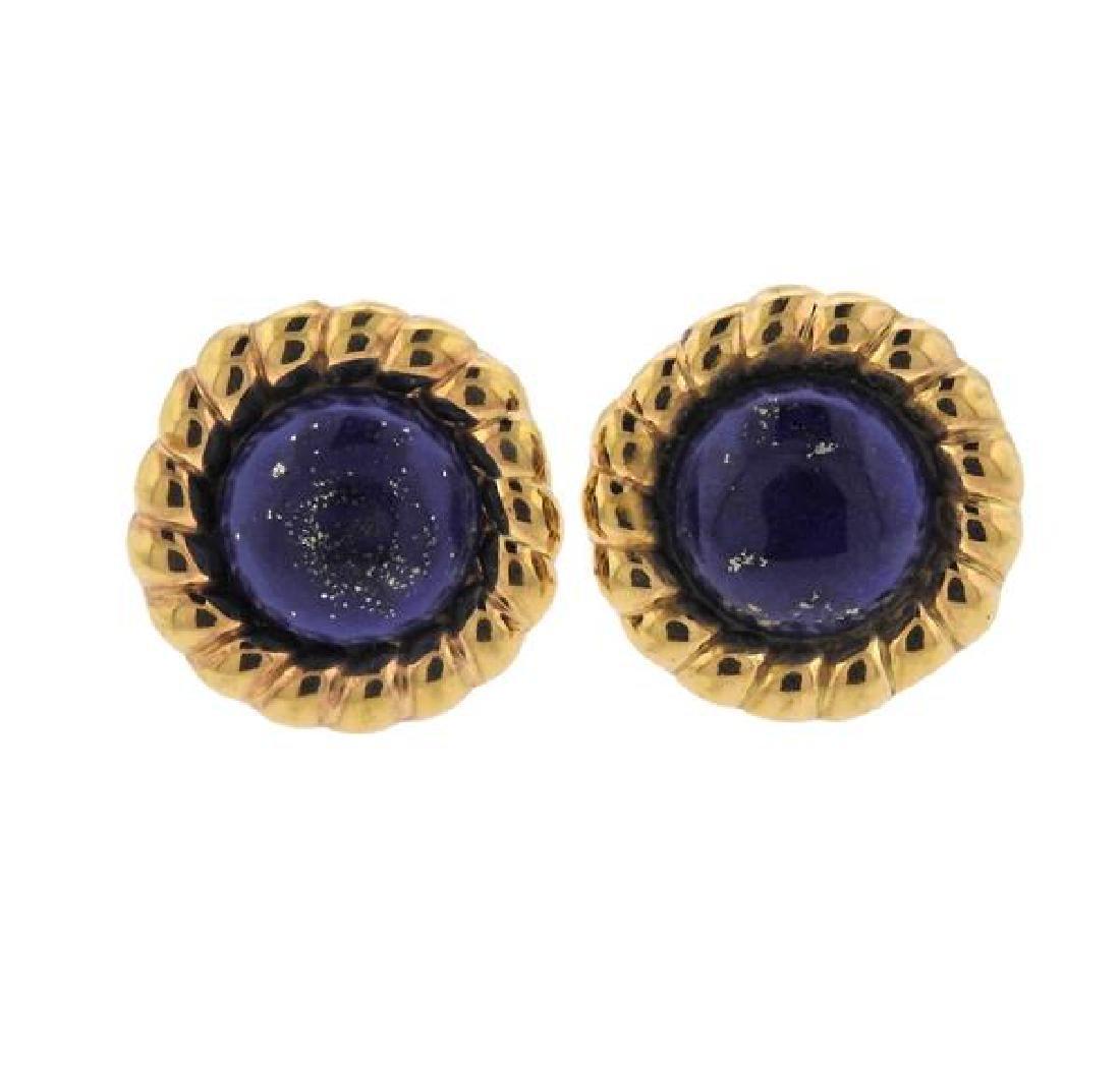18K Gold Lapis Earrings