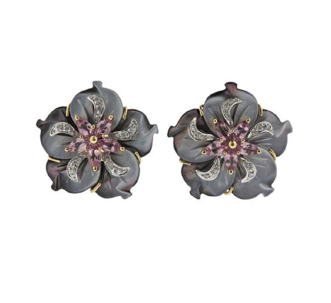 14K Gold Diamond MOP Pink Stone Flower Earrings