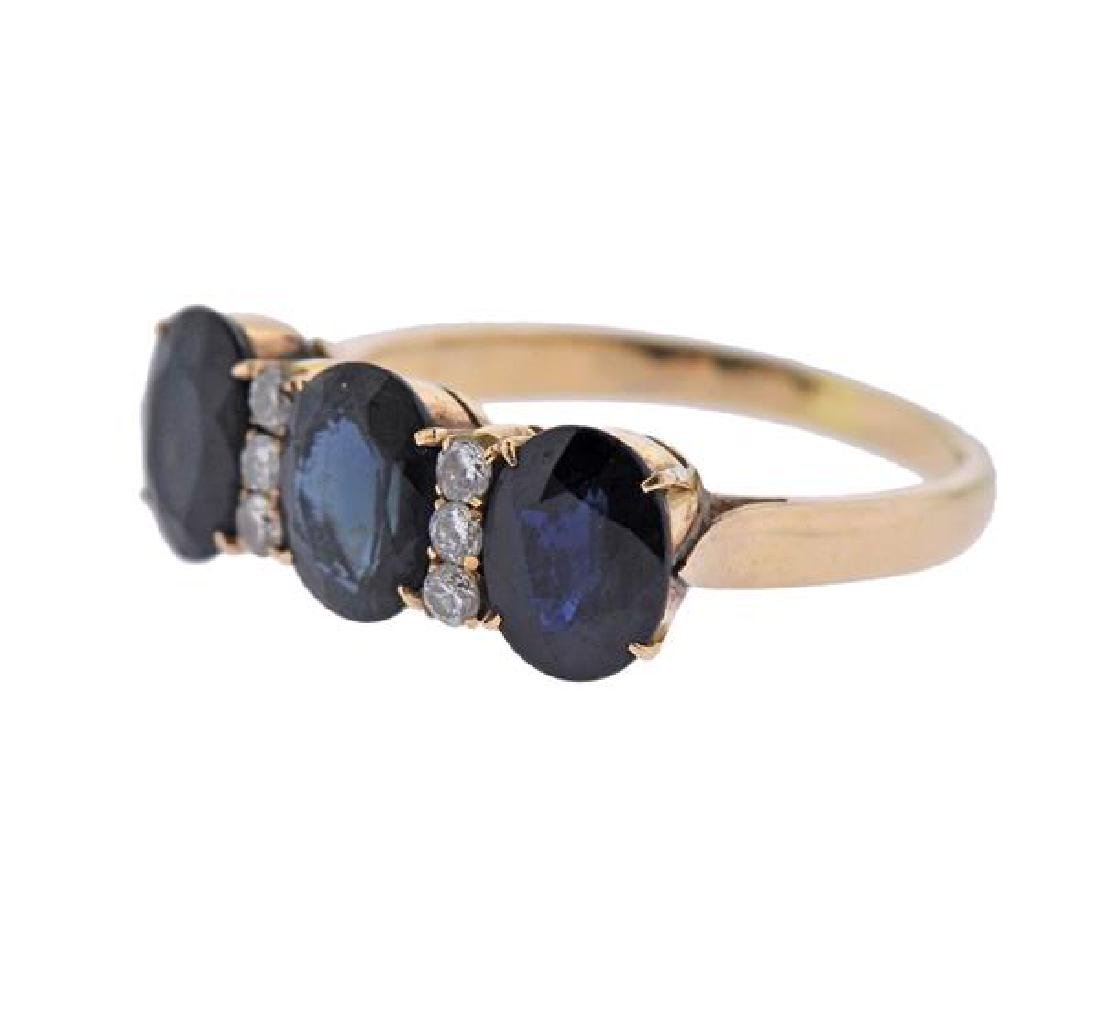 18K Gold Diamond Sapphire Ring - 2