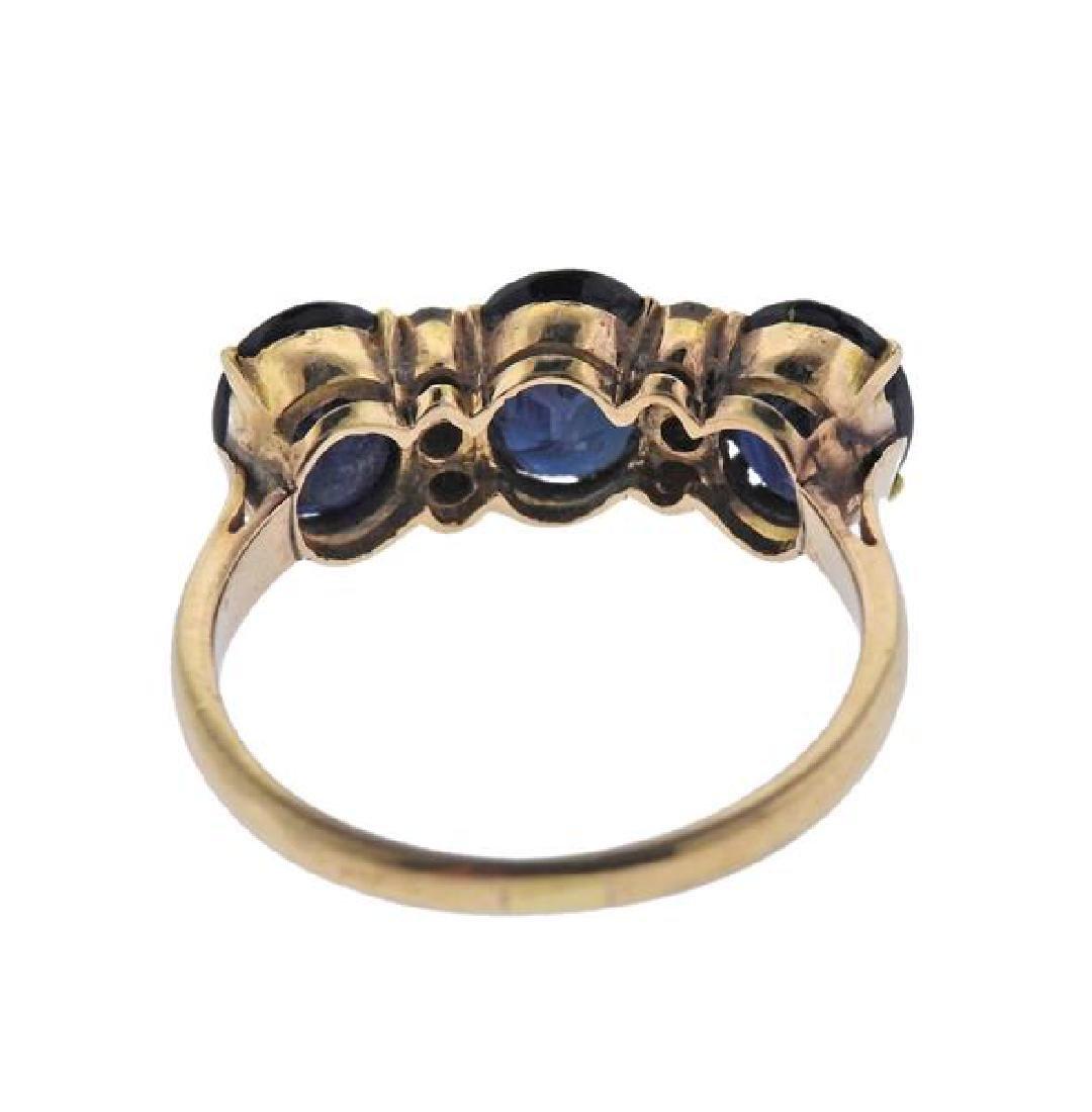 18K Gold Diamond Sapphire Ring - 3