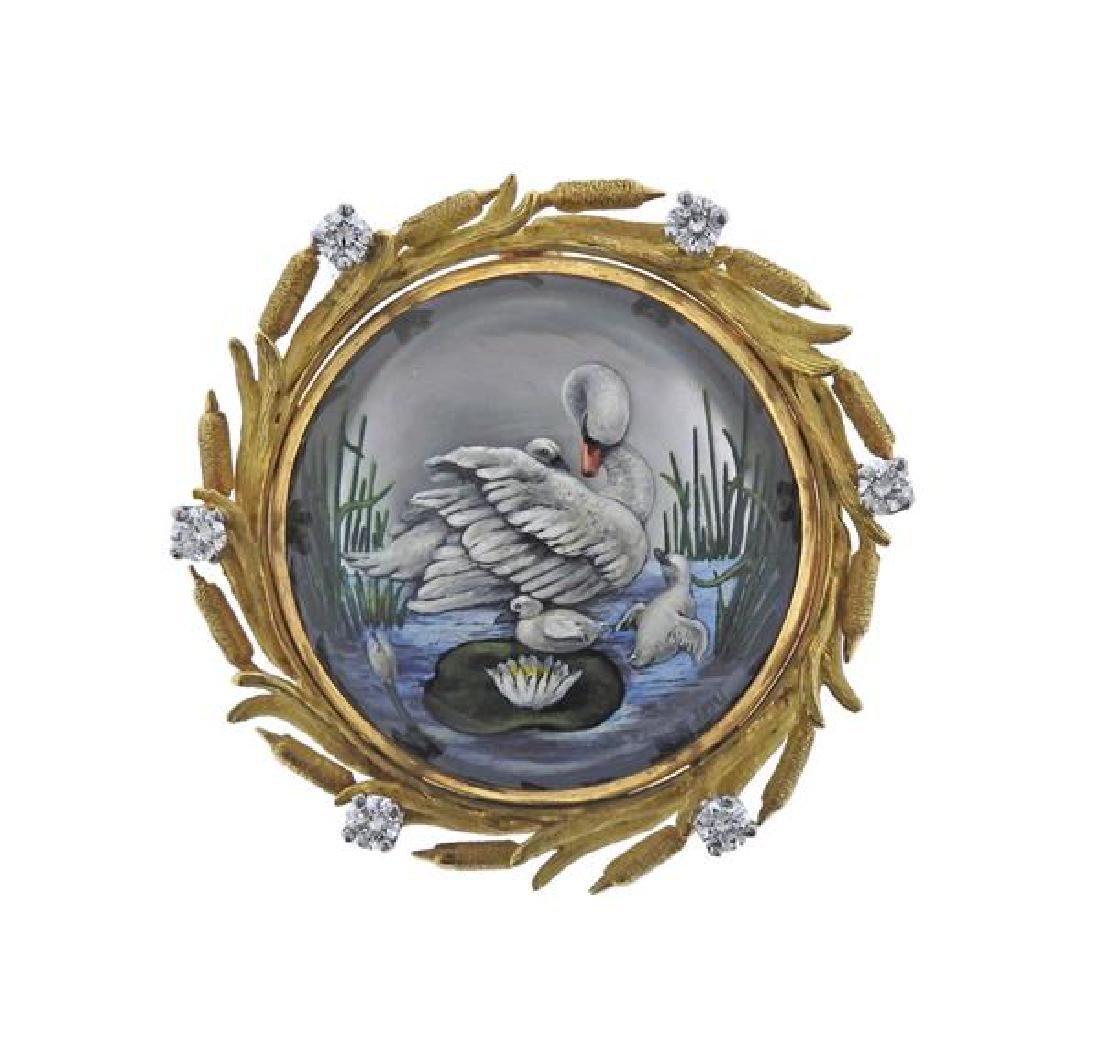 McTeigue 18K Gold Diamond MOP Reverse Painting Brooch