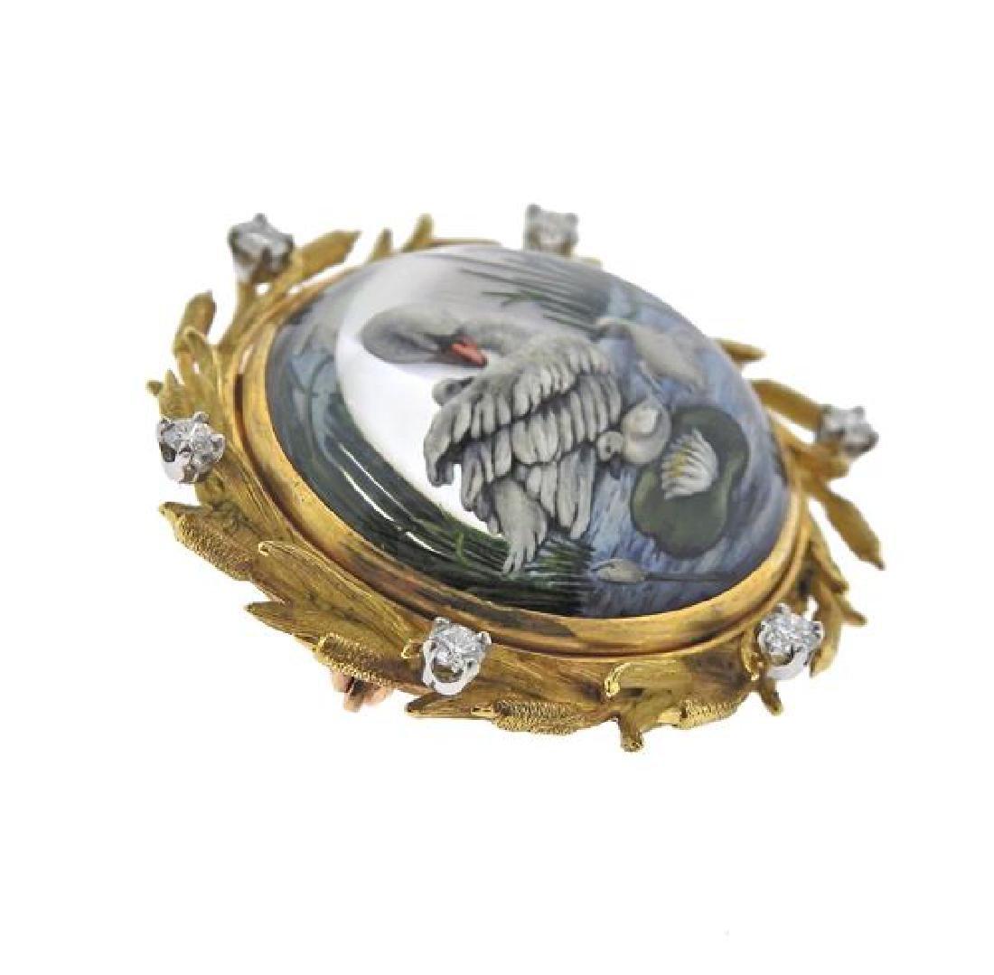McTeigue 18K Gold Diamond MOP Reverse Painting Brooch - 2