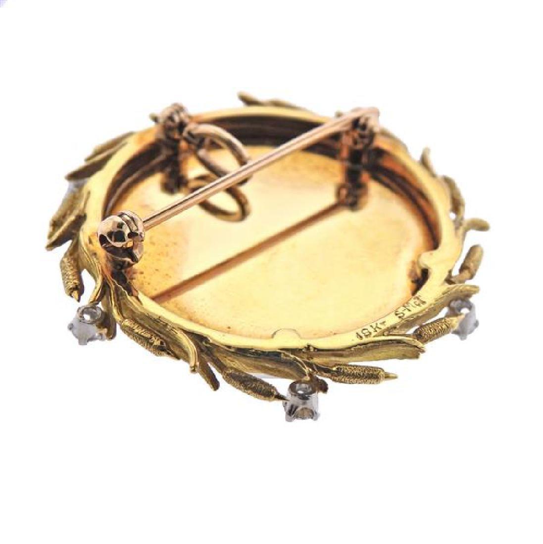 McTeigue 18K Gold Diamond MOP Reverse Painting Brooch - 4