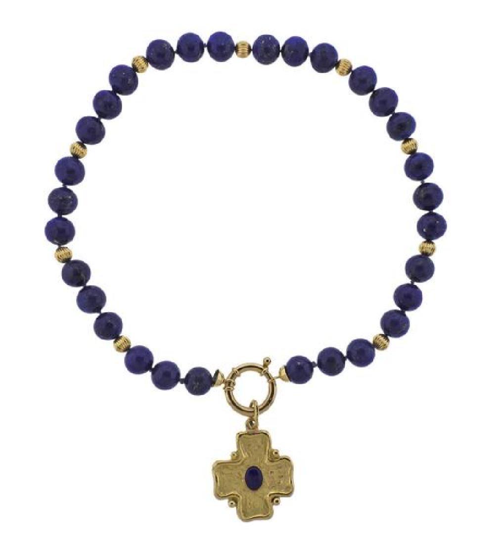 18K Gold Lapis Cross Charm Necklace