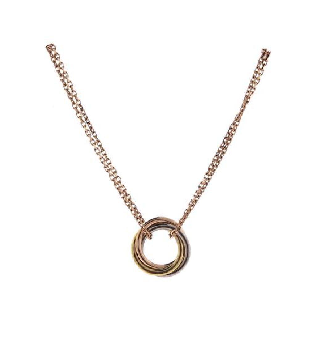 Cartier Trinity 18K Tri Color Gold Double Chain