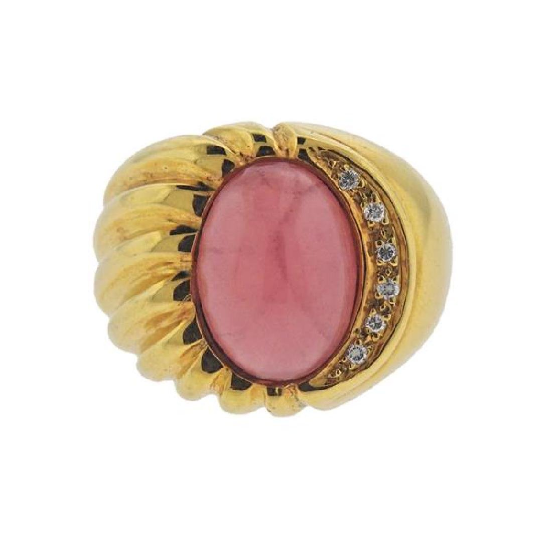 18K Gold Diamond Pink Gemstone Ring