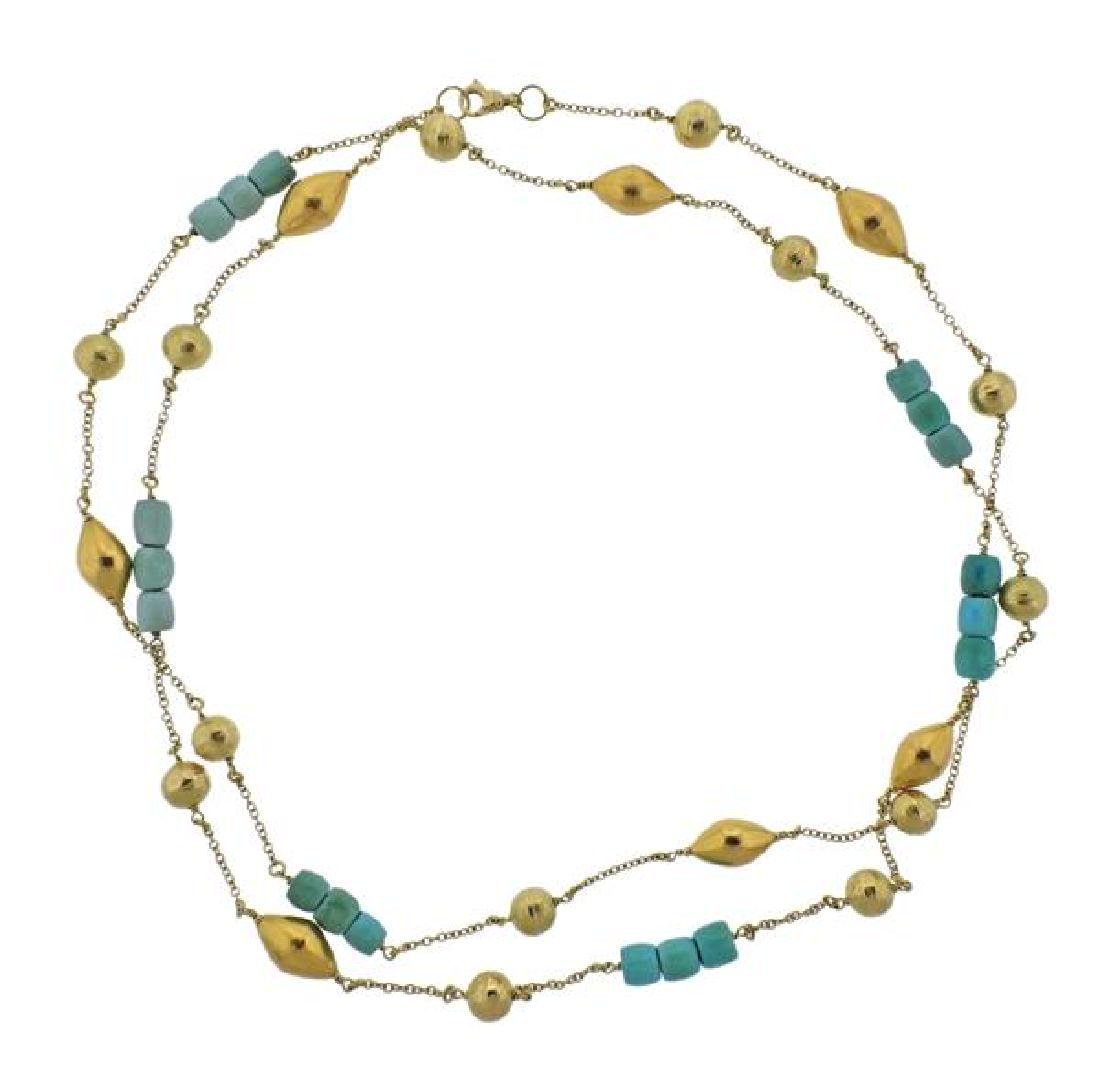 18K Gold Turquoise Station Long Necklace