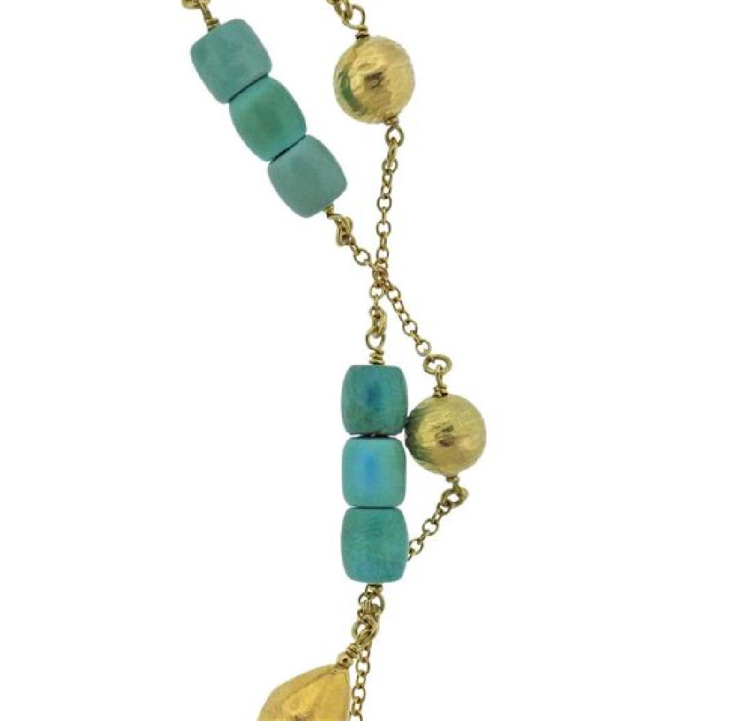 18K Gold Turquoise Station Long Necklace - 2