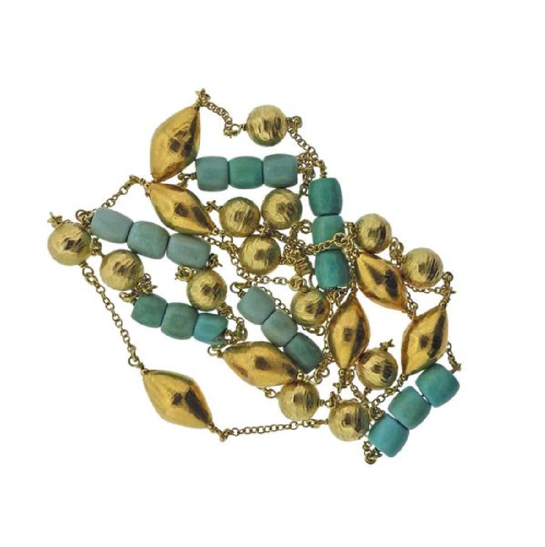 18K Gold Turquoise Station Long Necklace - 3