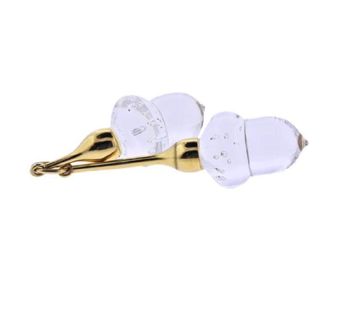 Steuben 18K Gold Glass Acorn Pendant - 2