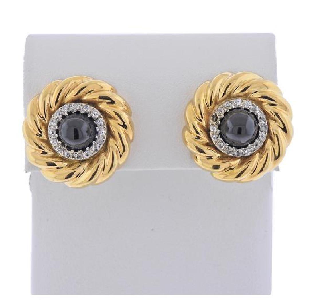 18K Gold Diamond Sapphire Earrings