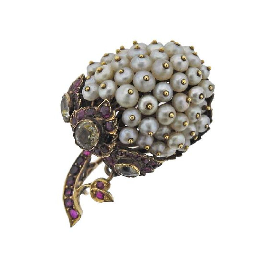 Antique 18K Gold Pearl Colored Stone Brooch