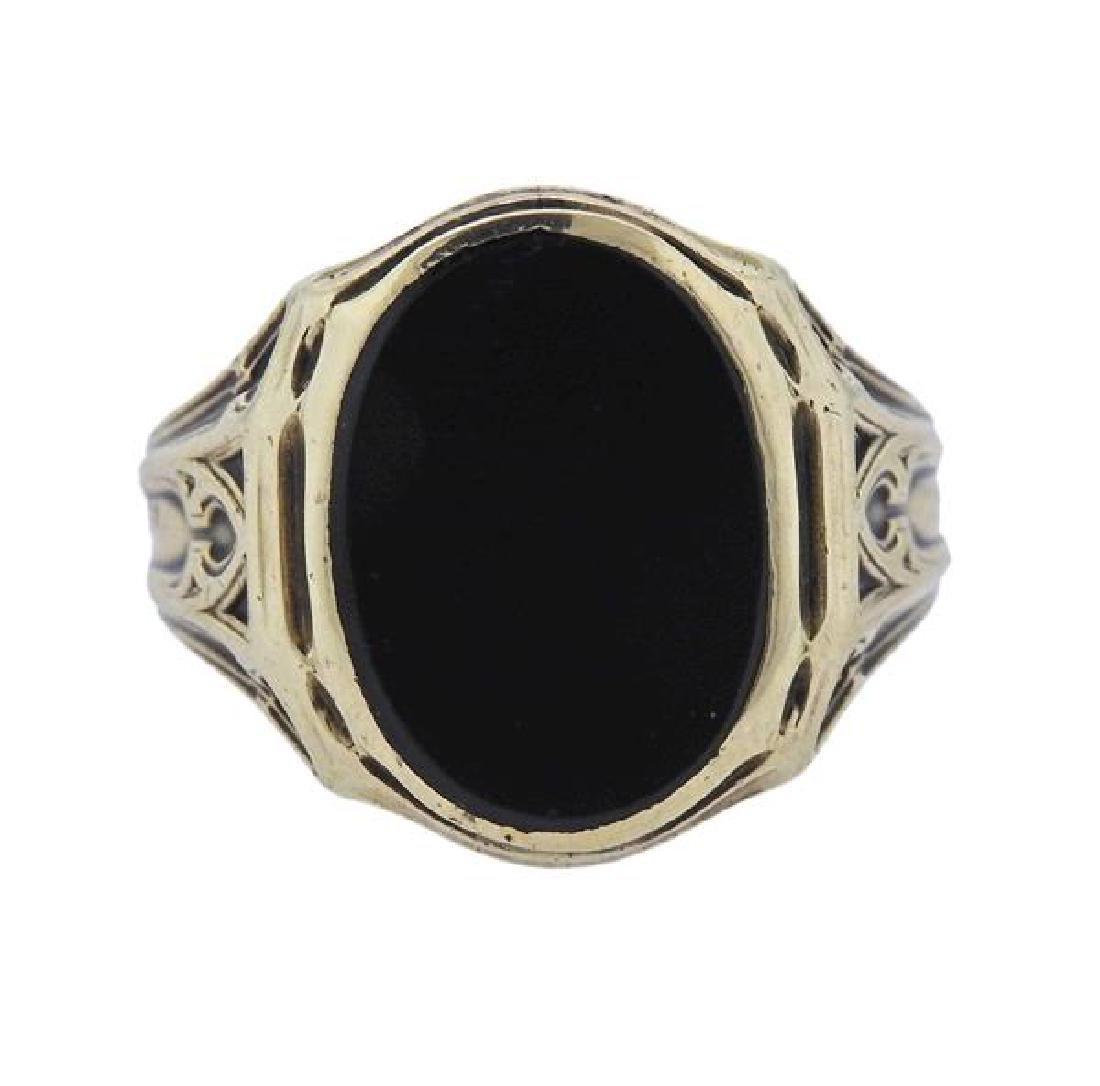 Art Deco 10k Gold Onyx Ring