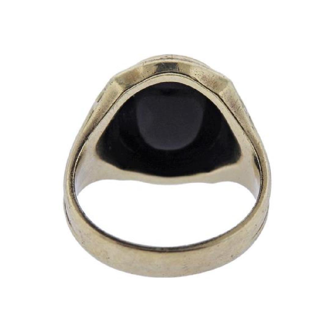 Art Deco 10k Gold Onyx Ring - 3