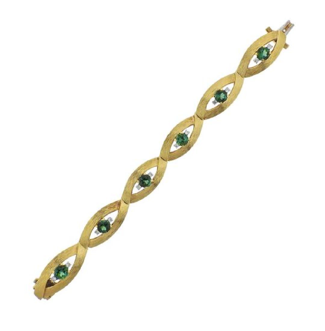 18K Gold Diamond Green Gemstone Bracelet