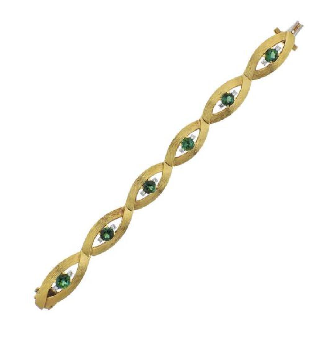 18K Gold Diamond Green Gemstone Bracelet