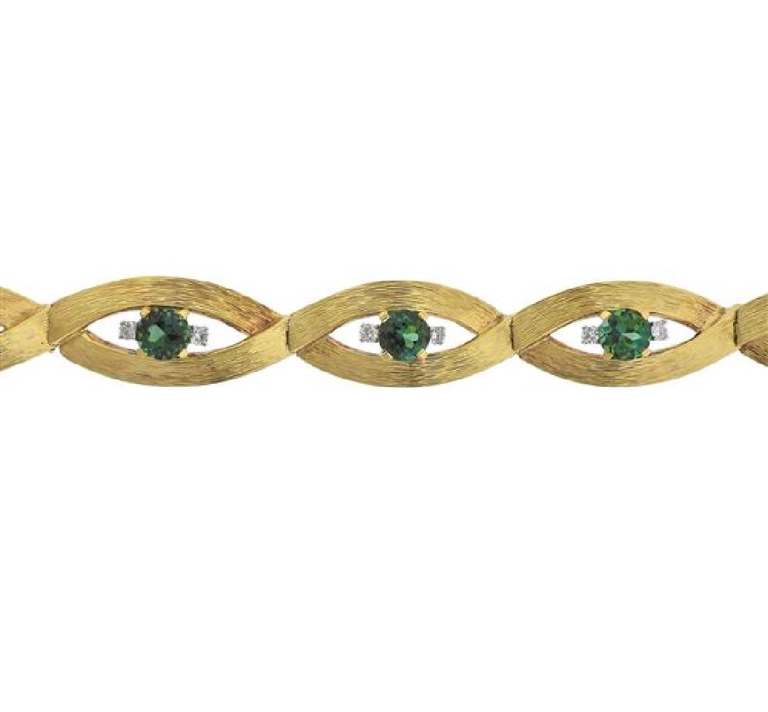 18K Gold Diamond Green Gemstone Bracelet - 2