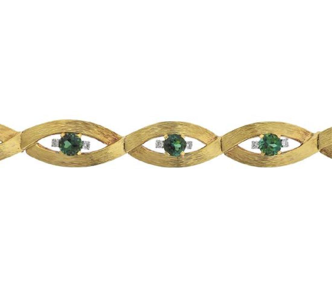 18K Gold Diamond Green Gemstone Bracelet - 2