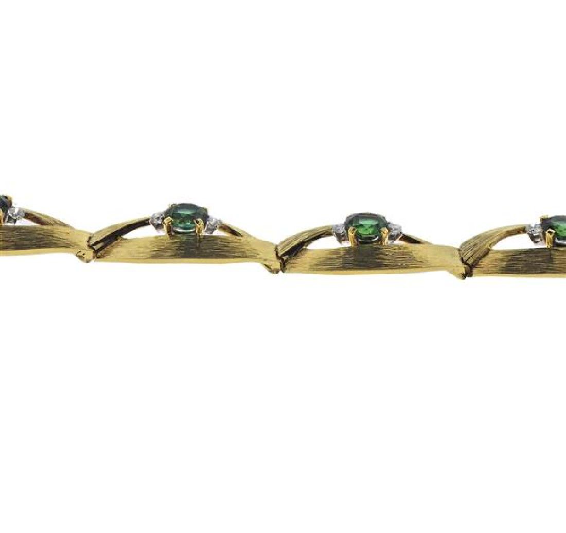 18K Gold Diamond Green Gemstone Bracelet - 3