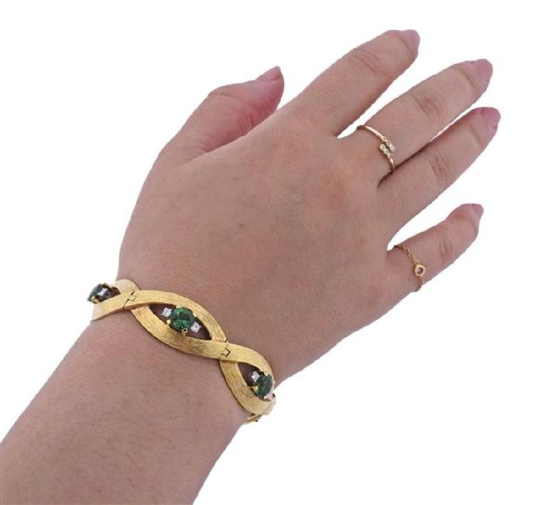 18K Gold Diamond Green Gemstone Bracelet - 5