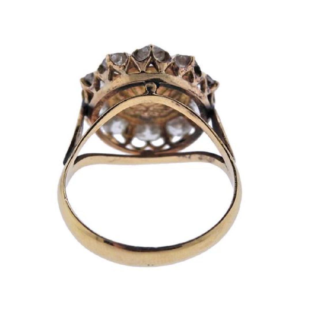 18K Gold Diamond Emerald Ring - 3