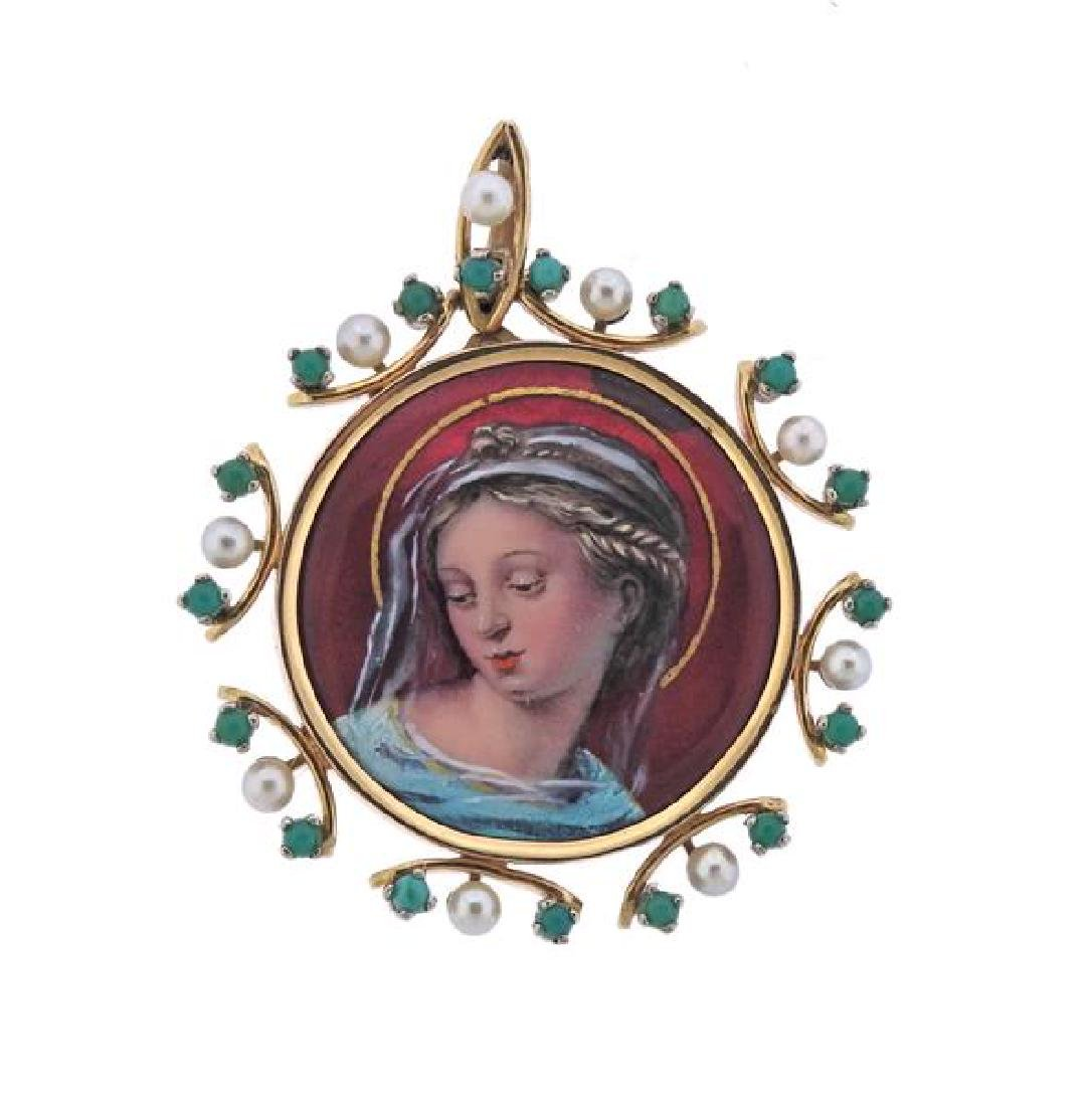 Antique 18K Gold Pearl Turquoise Miniature Painting