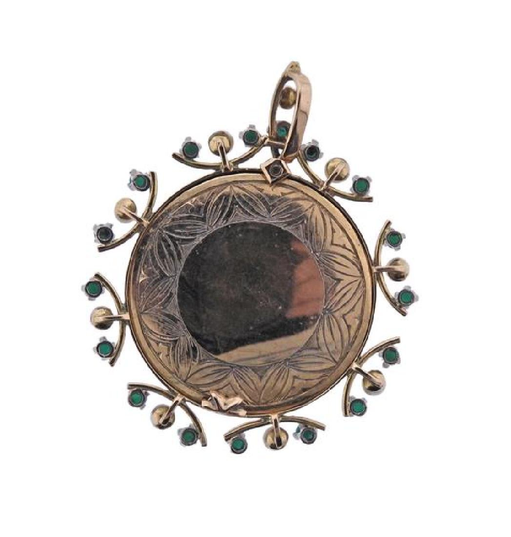 Antique 18K Gold Pearl Turquoise Miniature Painting - 3