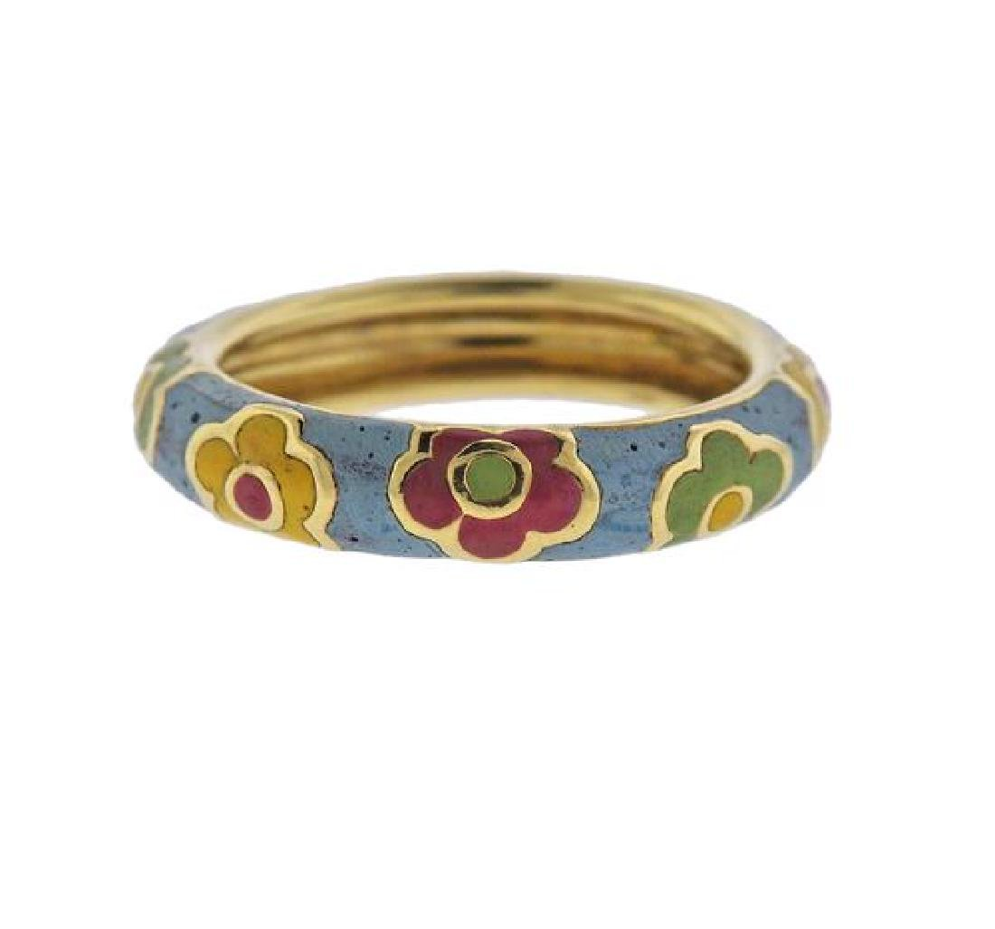 18K Gold Enamel Band Ring