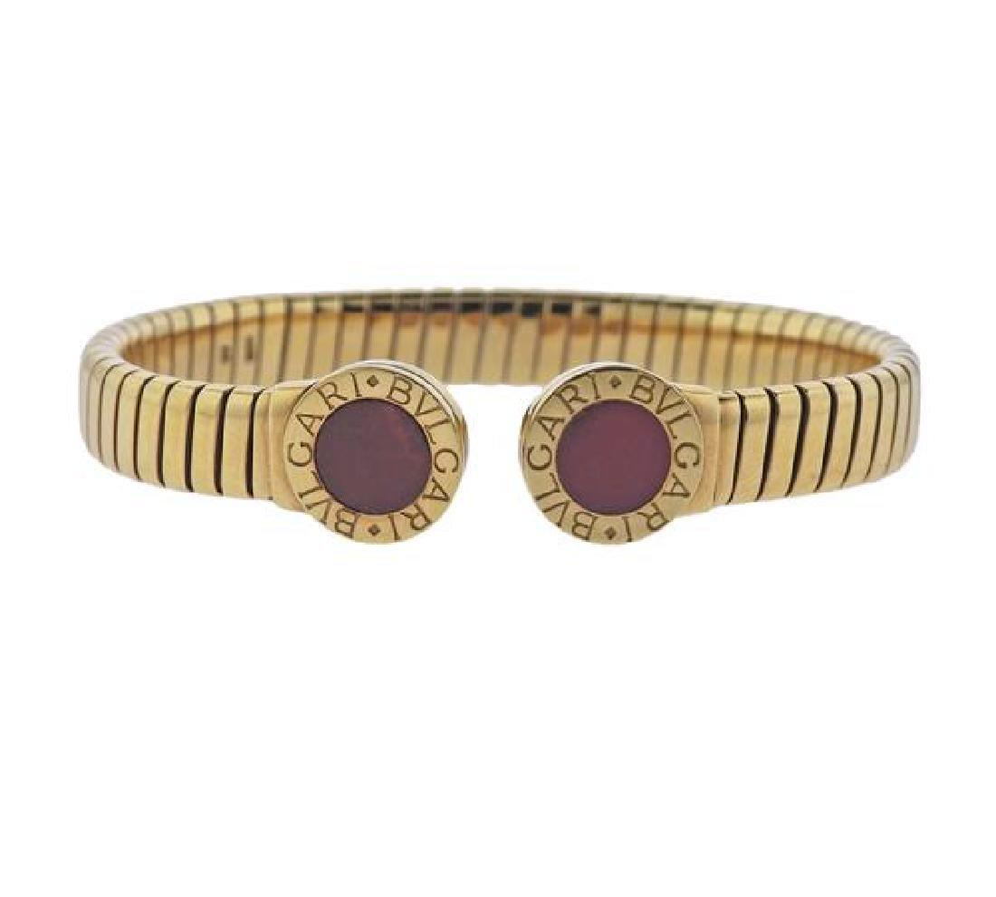 Bulgari Bvlgari Tubogas18K Gold Rhodochrosite Bracelet